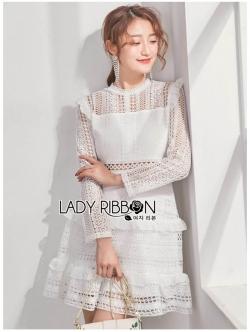 เสื้อผ้าแฟชั่นเกาหลี Lady Ribbon Thailand Lady Ribbon's Made Lady Evelyn Frilled & Ruffle Pastel Lace Dress