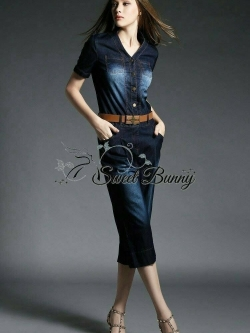 Moto Tie-waist jumpsuit with belt by Sweet Bunny