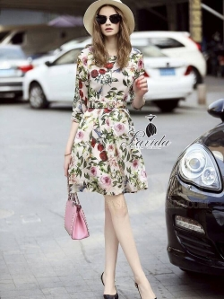 Korea Design By Lavida luxury red rose printed long sleeve dress