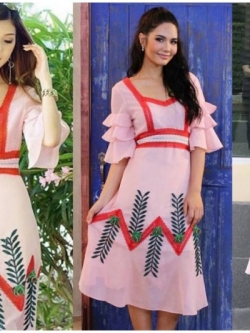 เสื้อผ้าแฟชั่นเกาหลี Lady Ribbon's Made Lady Lily Vintage Embroidered Chiffon Dress