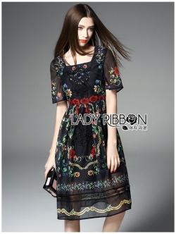 เสื้อผ้าแฟชั่นเกาหลี Lady Ribbon Thailand's Made Lady Florence Blooming Floral Printed Lace Embroidered Polyester Dress