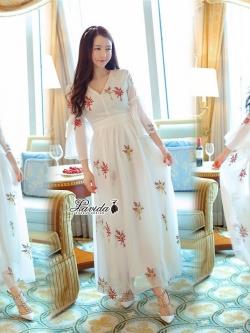 Korea Design By Lavida Retro blossom embroidery ivory maxi dress code8055