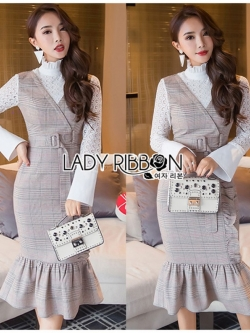 เสื้อผ้าแฟชั่นเกาหลี Lady Ribbon's Made Lady Julia Smart Chic Checked Ruffle Dress Over High Neck Lace Blouse