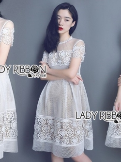 เสื้อผ้าแฟชั่นเกาหลี Lady Ribbon's Made Lady Helen Pretty Sweet Flower Embroidered White Tulle Dress