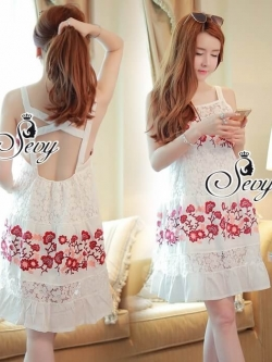 Sevy Embroidered Fresh Flora Sexy Back Vest Mini Dress