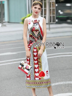 เสื้อผ้าแฟชั่นเกาหลี Lady Ribbon's Made Lady Isabelle Playful Card Printed Sleeveless Midi Dres
