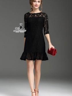 Korea Design By Lavida elegant hollow lace lotus leaf collar beauty dress code573