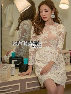เสื้อผ้าแฟชั่นเกาหลี Lady Ribbon's Made Lady Gabriella Elegant Chic Mixed Lace Dress