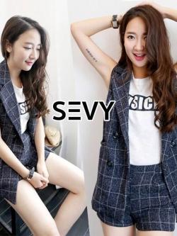 NEW Korea Design By SEVY...Scotch shirt and pants Set