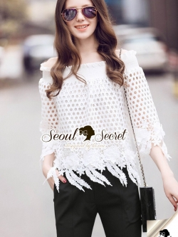 Seoul Secret Say's .... Leafly Tailling Smocking Lace Blouse
