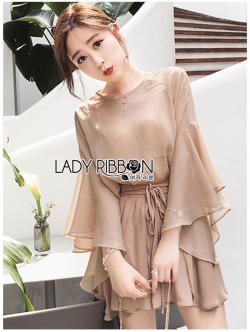 เสื้อผ้าแฟชั่นเกาหลี Lady Ribbon's Made Lady Liz Beige Chiffon Blouse and Shorts Set