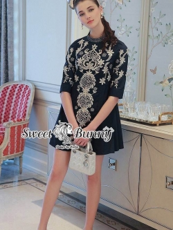 Sweet Bunny Present... Embroidered Cold Dress