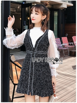 เสื้อผ้าแฟชั่นเกาหลี Lady Ribbon's Made Lady Marie Tweed Dress Over High-Neck Blouse Set