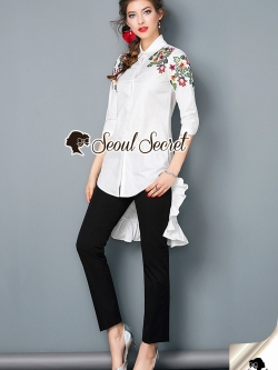 Seoul Secret Say's .... Coolly Blossom Stick Shirt Dress Long BackTail