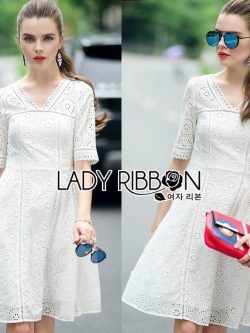 &#x1F380 Lady Ribbon's Made &#x1F380 Lady Catrina Classic White Laser-Cut and Embroidered Cotton Dress