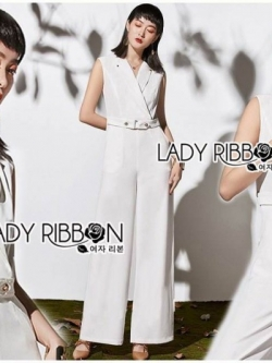 เสื้อผ้าแฟชั่นเกาหลี Lady Ribbon's Made Lady Katheryn Minimal Chic Belted Jumpsuit