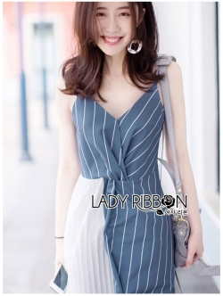 🎀 Lady Ribbon's Made 🎀 Lady Betty Two-Tone Striped Twisted Dress