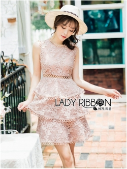 เสื้อผ้าแฟชั่นเกาหลี Lady Ribbon's Made Lady Layla Baby Pink Ruffle Layered Embroidered Lace & Cotton Dress