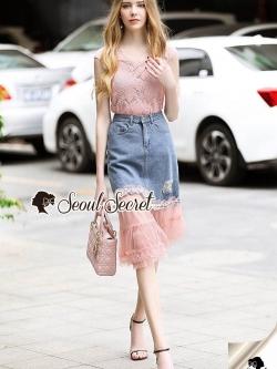 Seoul Secret Say's... Pinky Pleat Net Frienge Denim Skirt Lace Tops Set