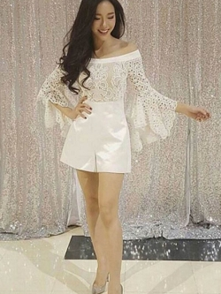 Seoul Secret Say's .... Chic Cutty Shoulder Off Top Lace Playsuit