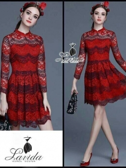 &#x1F36DKorea Design By Lavida high quality red lace luxury lady dress