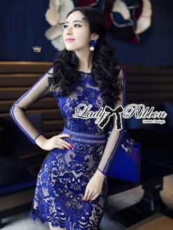 เสื้อผ้าแฟชั่นเกาหลี Lady Ribbon's Made Lady Kate Desirable Sexy Lace Dress in Electric Blue