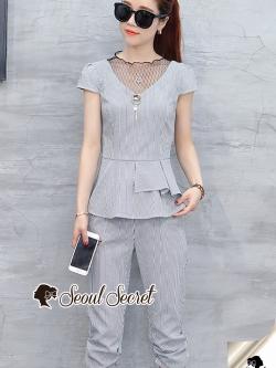 Seoul Secret Say's... Chic Netty V Collar Waist Fringe Set