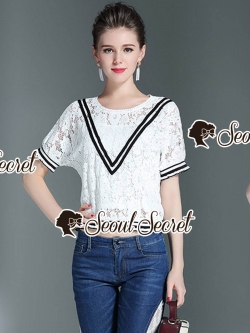 Seoul Secret Say's... Vee Stripy Ivory Lace Tops Denim Lace Side Split Set