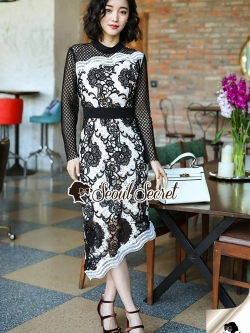 Seoul Secret Say's .... High Fashion Carpet Layer Color Lace Dress