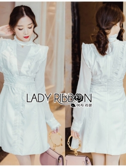 เสื้อผ้าแฟชั่นเกาหลี Lady Ribbon's Made Lady Harper Ruffle and Frilled White Lace and Chiffon Dress