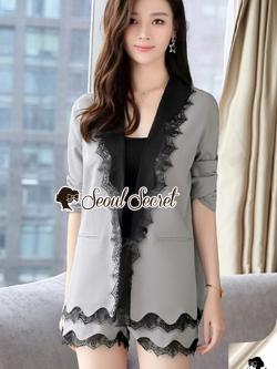 เสื้อผ้าแฟชั่นเกาหลี Seoul Secret Say's...Lace Suit Set Shady Gray Elegant