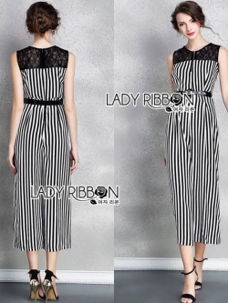 เสื้อผ้าแฟชั่นเกาหลี Lady Ribbon's Made Lady Lily Minimal Chic Striped Wide-Leg Jumpsuit with Belt