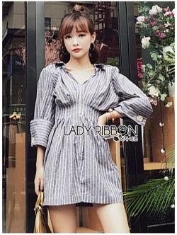 เสื้อผ้าแฟชั่นเกาหลี Lady Ribbon's Made Lady Petra Basic Striped Mini Shirt Dress