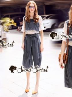 เสื้อผ้าแฟชั่นเกาหลี Seoul Secret Say's...Lace Stripe Pattern Cami 3 pieces Set