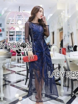 เสื้อผ้าแฟชั่นเกาหลี Lady Ribbon's Made Lady Hana True Elegant Sequin Embroidered Tulle Evening Dress