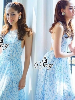 Sevy PP Blue Printed Sleeveless Sexy Back Maxi Dress