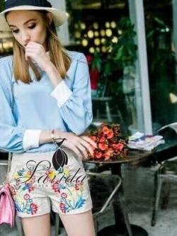 Korea Design By Lavida blue shirt shorts embroidered flowers set