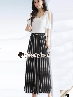 Seoul Secret Say's... Chic Vee Strip Sirt Concave With Panties Striped pants