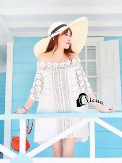 Cliona Made' Bahamas Love White Lace Shirt Dress