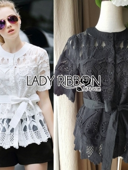 &#x1F380 Lady Ribbon's Made &#x1F380 Lady Elena Elegant Chic Button-Down White Lace Blouse with Ribbon