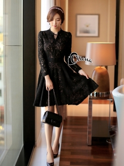 Cliona made' Miss Dior Black Lace Long Sleeves Dress - Mini dress
