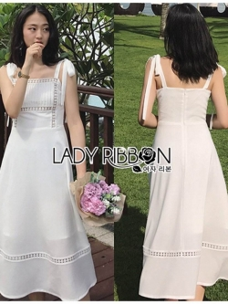 เสื้อผ้าแฟชั่นเกาหลี Lady Ribbon's Made Lady Kiera Holiday Bliss Ribbon Strap Embroidered White Linen Dress
