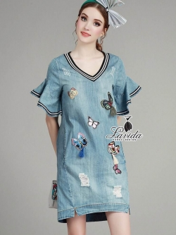 Korea Design By Lavida fashionable colorful butterfly embroidery denim chic dress