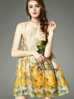 Sweet Bunny Present... Floral Print Flared Hem Yellow Dress