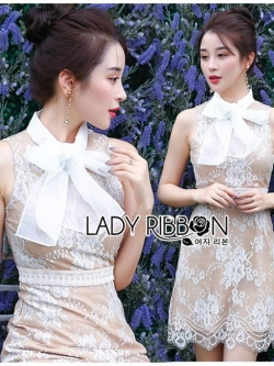 เสื้อผ้าแฟชั่นเกาหลี Lady Ribbon's Made Lady Grace Refined Chiffon Ribbon Lace Mini Dress