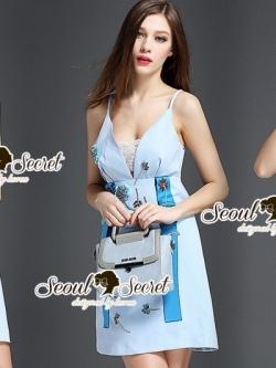 เสื้อผ้าแฟชั่นเกาหลี Seoul Secret Say's...Fashion Blue Diamond Embroidery Dress