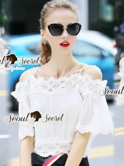 Seoul Secret Say's .... Linnerly Lace Openshoulder Bell Sleeve Blouse