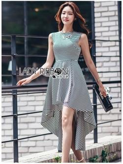 เสื้อผ้าแฟชั่นเกาหลี Lady Ribbon's Made Lady Annie Minimal Chic Asymmetric Striped Dress