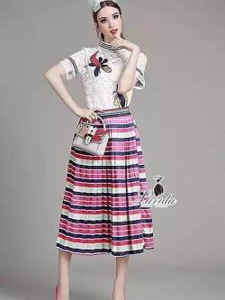 Korea Design By Lavida bug embroidered white premium lace top colorful skirt set cod727