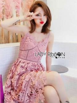 เสื้อผ้าแฟชั่นเกาหลี Lady Ribbon's Made Lady Alisa Baby Pink Guipure Lace Single Dress
